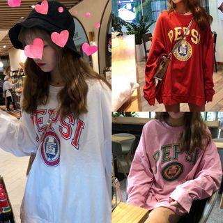 #294 ulzzang red/pink/white pepsi pullover graphic long sleeved shirt hoodie korean