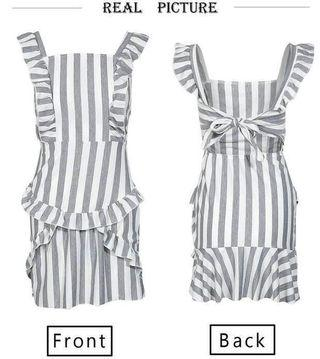 Grey/white stripes ruffles dress #junetogo