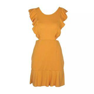 Mustard Yellow Ruffle Dress #junetogo