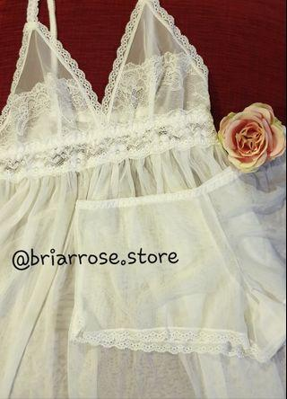 Lace Nightdress And Short ( White )