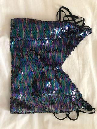 Metallic sequins top size small