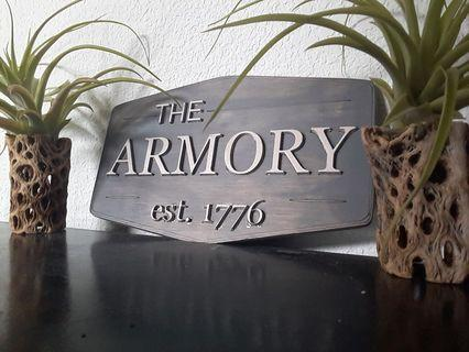 The armory wood handmade handcrafted wall art sign man cave decor