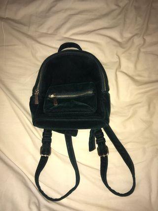Dark Green Velvet mini backpack