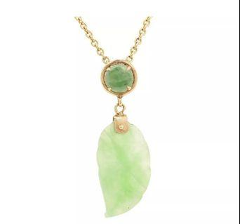 Unusual, Pretty Green Jade with 14K Yellow Gold Bail Engraved Details, Leaf Motif Dangle Pendant in VGC