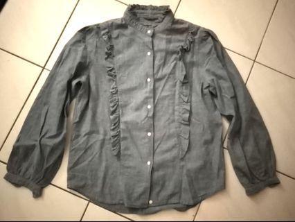 Denim chambray victorian blouse #mgag101 #junetogo