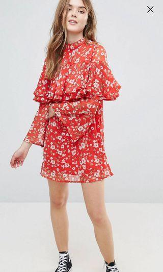 Influence floral dress with flare sleeve