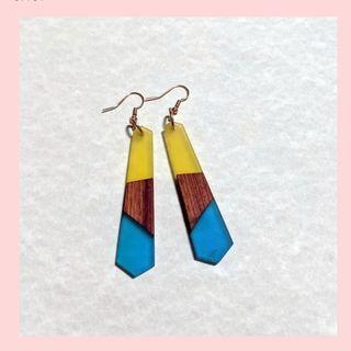 Wood Resin Earrings Sunshine Colour