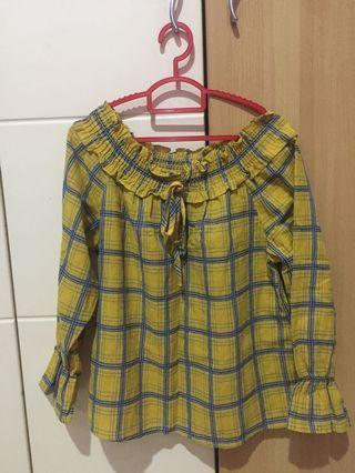 Yellow Checkered Off-Shoulder