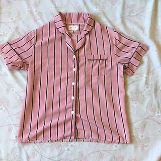 Pajama top blouse button down polo
