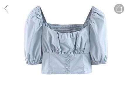 🚚 Powder Blue Puffy Sleeves Crop Top