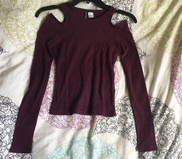 H&M maroon long sleeve, cold shoulder top