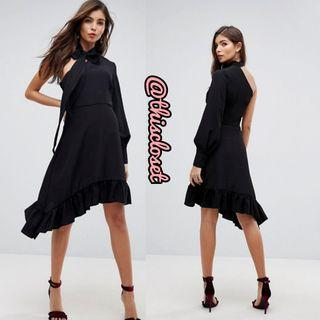 BNWT ASOS One Shoulder Ruffled Hem Dress