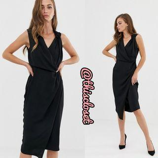 BNIB ASOS Draped Wrap Midi Pencil Dress