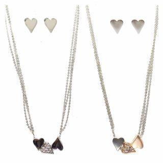 Triple Heart Pendant Necklace Set