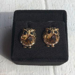 Gold Owl Earrings
