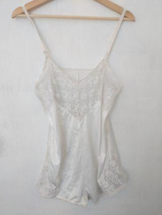 Vintage satin and lace playsuit