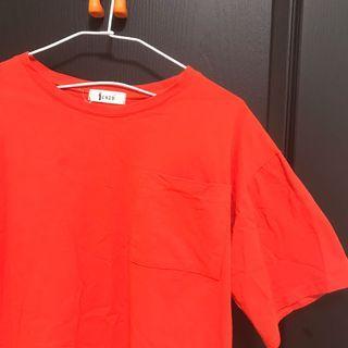 橘紅單邊口袋上衣