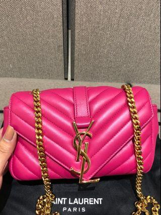 authentic YSL fuschia pink college bag