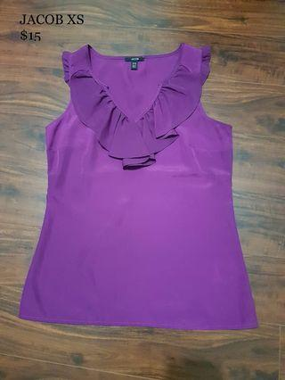 Purple Sleeveless Blouse with Ruffles