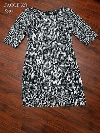 Black and White Pattern Professional Work Dress