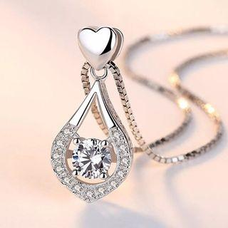 S925 Silver Love Heart Tears Swarovski Element Necklace