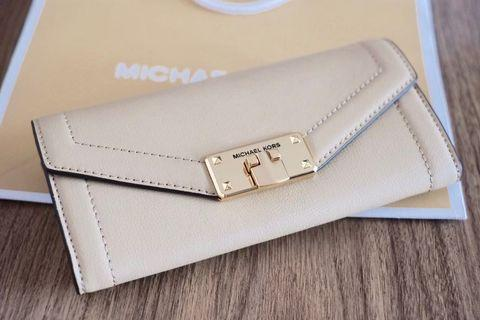 MICHAEL KORS Kingsley leather long wallet MK 真皮長銀包 Bisque Beige 杏色 (women 女裝) 100% New 全新 with paper bag 有紙袋