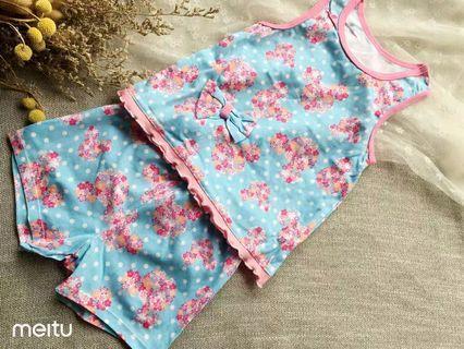 [Free Shipping] New! Premium Branded Original Disney Baby Kids Girl Summer Floral Set (2~3 years)