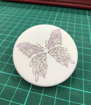 Line Art Butterfly Badge (White)