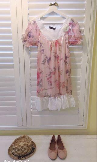 🚚 我的法式優雅 玫瑰印花洋裝 JK2 浪漫雪紡印花洋裝 原價$1200