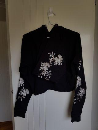 Missguided embroidered flower hoodie EUC