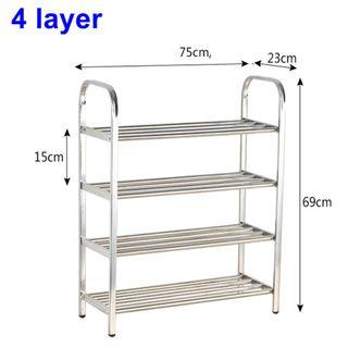 SRM 4 layer stainless steel shoe rack w75xd23xh69cm