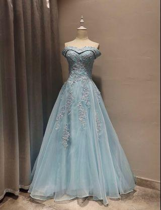 一字肩晚裝裙-粉藍