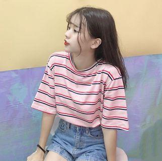 🚚 Preorder - Oversized Korean Striped Tee