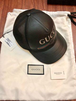 「全新甜售」Gucci真皮復古Logo帽