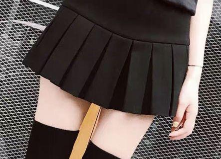 黑色 百褶裙 超短裙半身裙