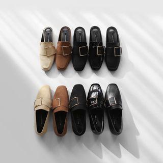 🚚 Sappun 皮釦福樂鞋 22cm 黑色合成皮革