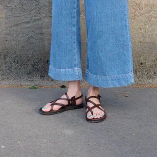 Sappun 交叉平底涼鞋 22號 咖啡色