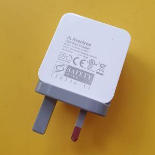 Dual USB Port Wall Charger UK Plug 3.1A 15.5W Avantree Model TR205