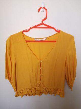 Zara medium yellow crop top #SwapNZ