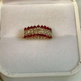 14K Ruby & Diamond Pyramid Style Ring Sz 6.25