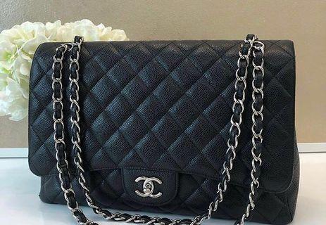 🚚 Chanel Classic Maxi Single Flap Caviar SHW