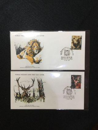 1976 India Indian Wildlife Issue- Two Values On Two Separate WWF FDCs #MGAG101