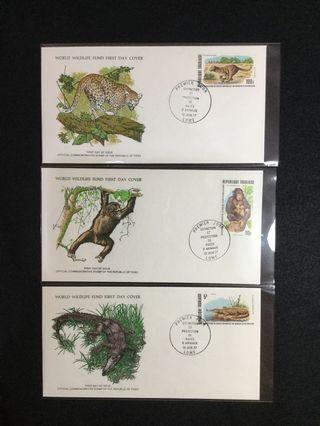 1977 Togo Protection Of Endangered Animal Species Issue On Three WWF FDCs #MGAG101