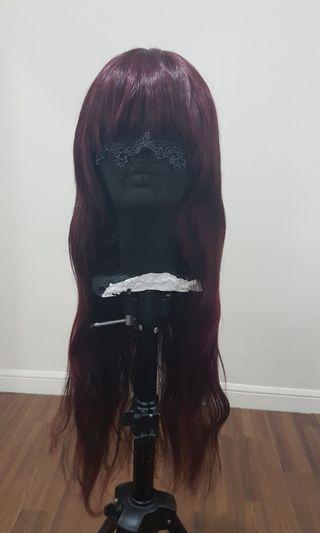 Gradient Wine Red Long Wavy Wig