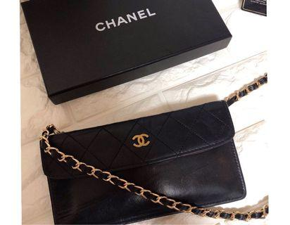 💯Real ❤️Chanel vintage pouch 黑金❤️