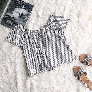 MNG Mango Stripes Black and White Crop Top