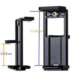 Yunteng Mobile phone Selfie double Clip Bracket Holder Tripod Monopod Stand Mount Adapter for Pad phone Multifunction Double clip phone clip iPad clip holder