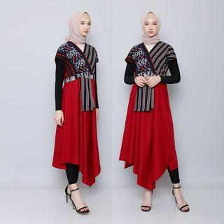 Dress merah tenun