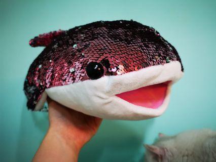 閃片雙面顏色海豚(玫紅色/銀色)