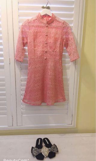 🚚 我的法式優雅 蕾絲七分袖洋裝 禮服 正式場合 宴會   短版復古蕾絲洋裝 可搭配英式小禮帽 增添品味
